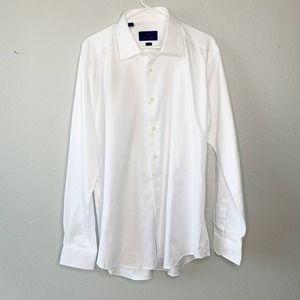 David Donahue White Button Down Dress Shirt 17.5